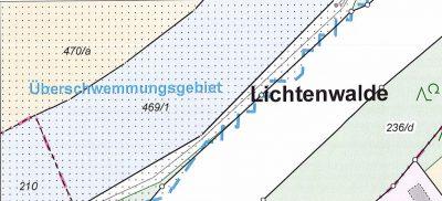 Überschwemmungsgebiete in der Flurkarte